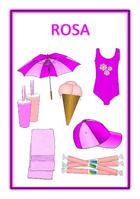 Atividades com cores primárias - Rosa