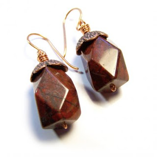 Red Jasper Gemstone Copper Dangle Earrings