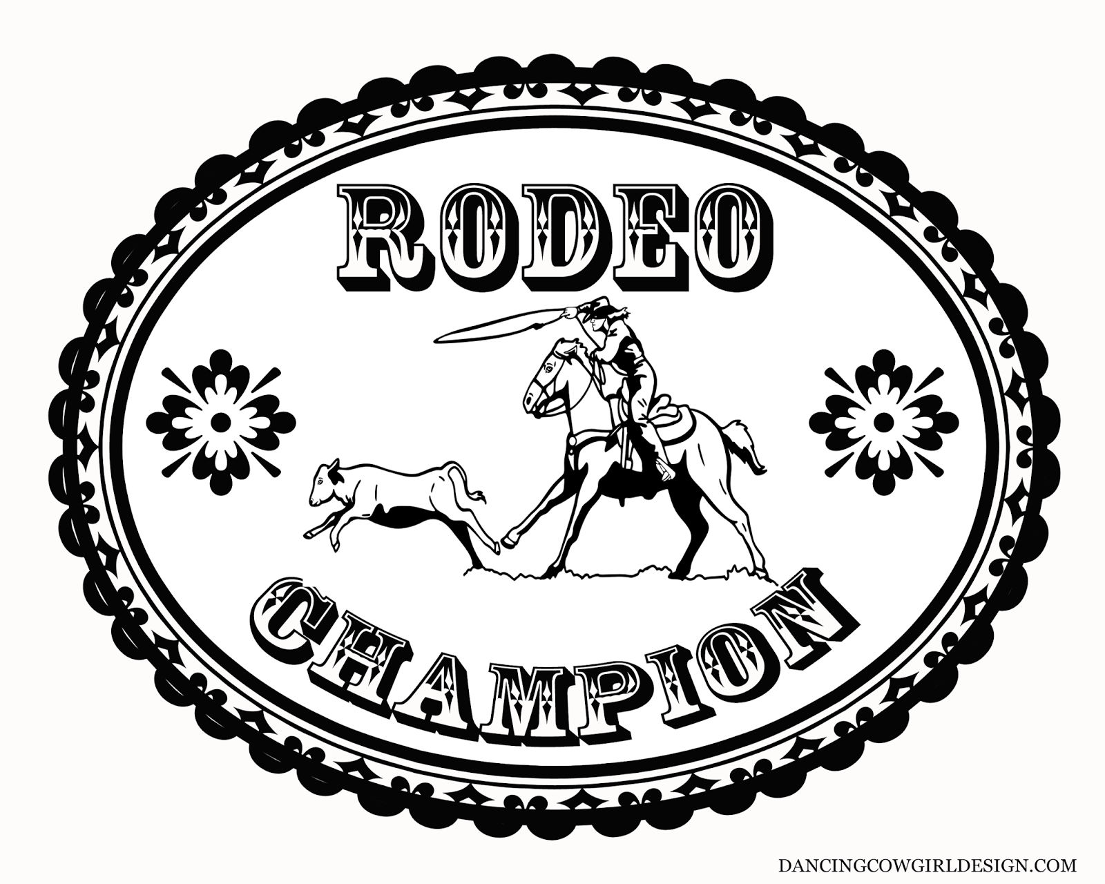 RODEO COLORING PAGES: Coloring Sheet Rodeo Calf Roping Belt Buckle