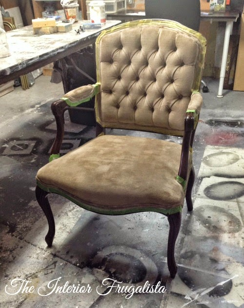 French Provincial Chair Fabric Painted After Two Coats