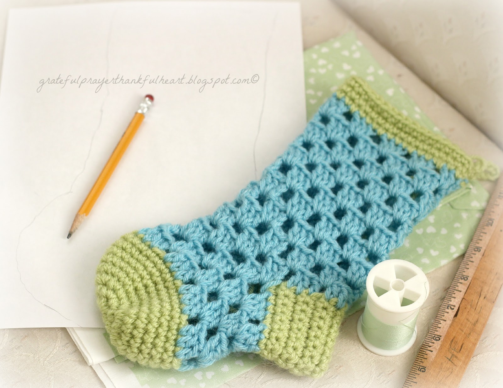 Lined crochet stocking for chloe grateful prayer thankful heart pattern for crochet stocking for babys 1st christmas it is lined with fabric to keep bankloansurffo Image collections