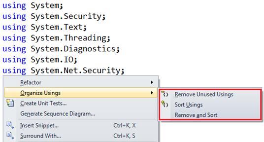 How to remove unused using namespaces