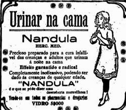 Propaganda do medicamento Nandula que combatia o ato de urinar na cama, ao dormir.