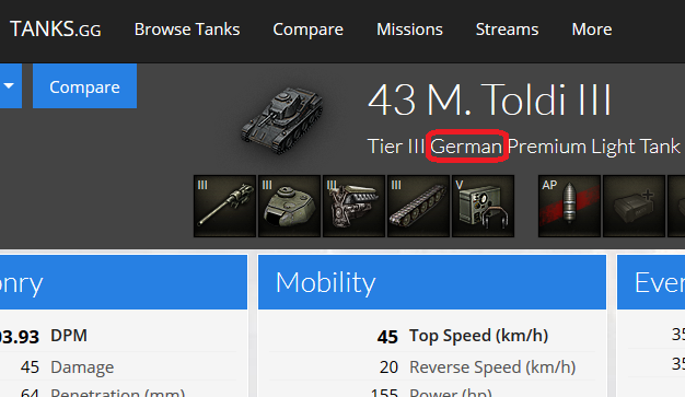Tanks.ggの43 M. Toldi IIIページのキャプチャ