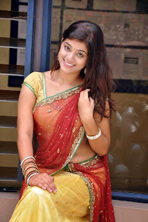Yamini in lovely Transparent Yellow Saree wit Red Pallu