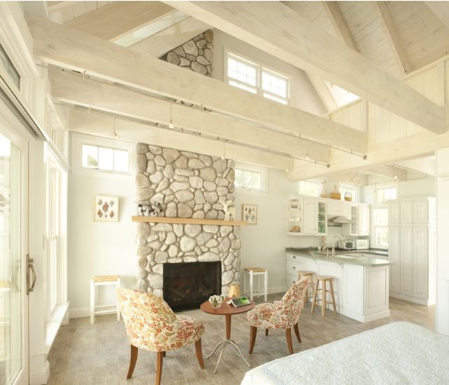 Creative cottage stone fireplace