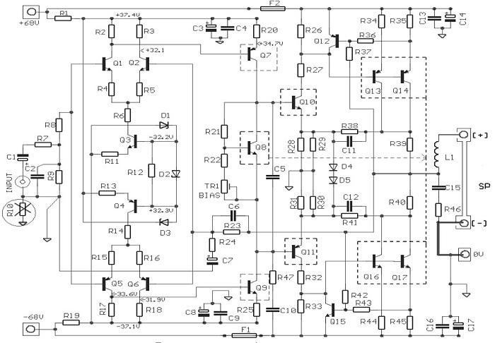 rangkaian power audio amplifier 300 watt