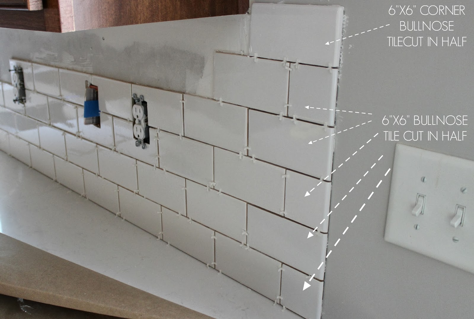 Duo ventures kitchen makeover subway tile backsplash installation in the end our plan worked out gave us a finished look that we really liked however we wanted to mention something regarding the tile cuts when we dailygadgetfo Image collections