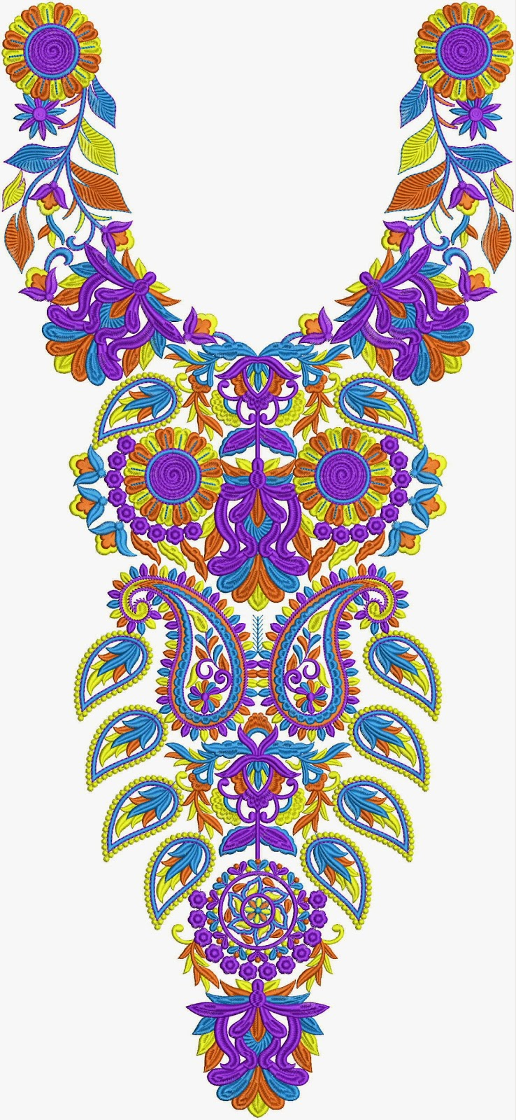 Embdesigntube shining neck embroidery designs collection