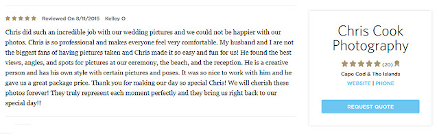 Cape Cod wedding blog photo from Chris Cook Photography about New five star review on The Knot!