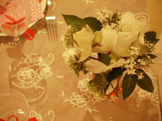 déco table fête rose de noel