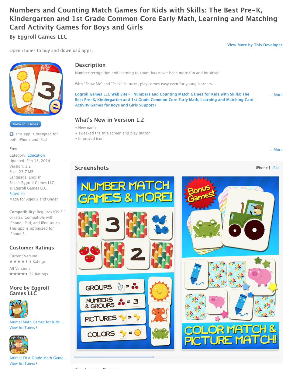Ucet Free Ios App Today Numbers And Counting Match Games For Kids