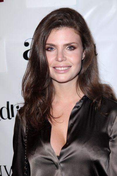 Julia Lescova Brown Satin Blouse Popular Celebrity