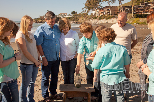 family reunion shell ceremony, Cayucos beach photographer