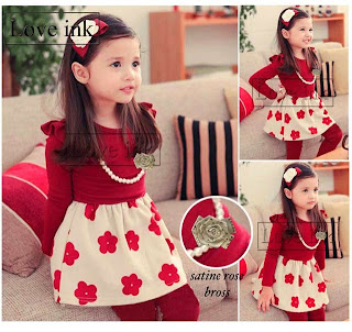 Dress Kids Red Flower + Kalung + Bros - Baju Anak Love Ink - Harga Saudara