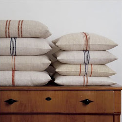 Gorgeous Stacks of Grain Sack Pillows