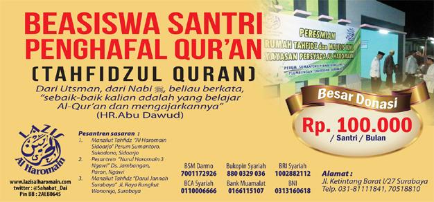 Beasiswa Santri Penghafal Al-Quran