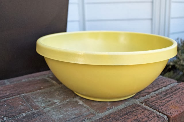 yellow painted garden container