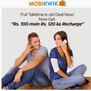Mobile & Data Card Rs. 120 recharge for Rs.100 \ Till 7th October – Mobikwik