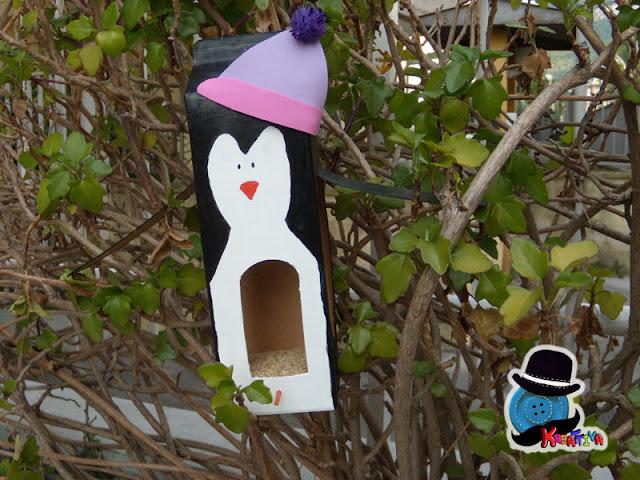 riciclo creativo: mangiatoia per uccelli a forma di pinguino [tutorial]