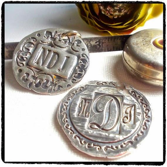 waxsealjewelrysource.etsy.com  Silver monogram pendants