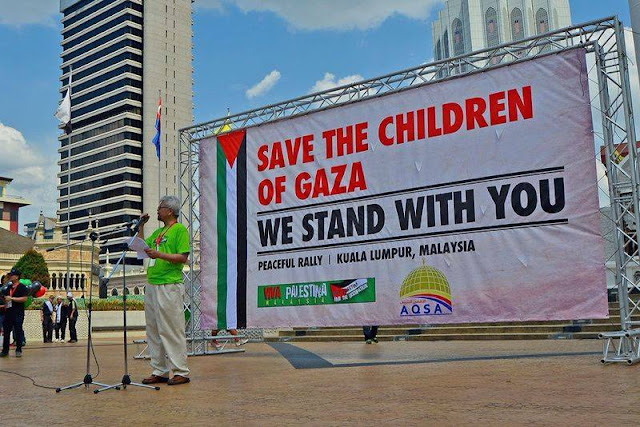 Dato' Dr Musa speaking a rally in Dataran Merdeka, August 2013 during the Summer attack on Gaza