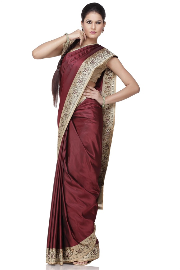 Walnut Brown Art Kattan Silk Banarasi Saree