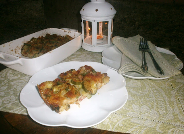 timballo di pane pancetta e zucchine
