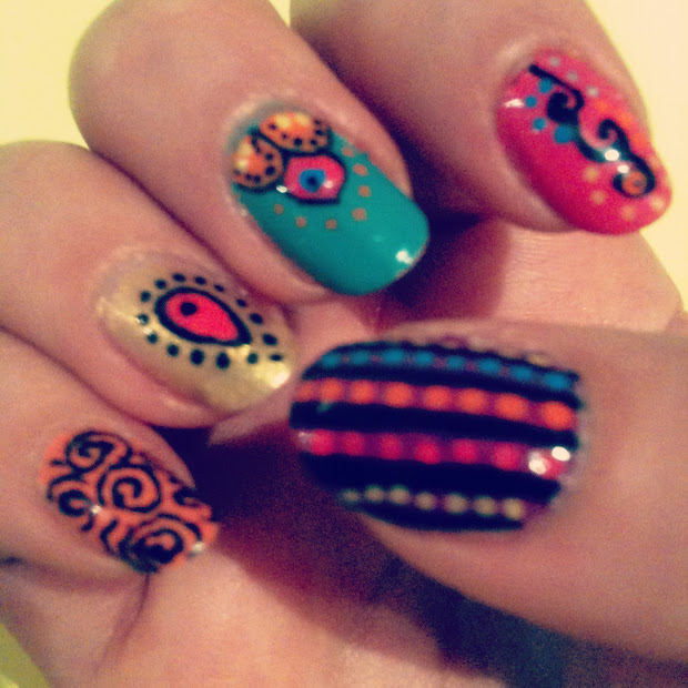 magpie indian themed nail art