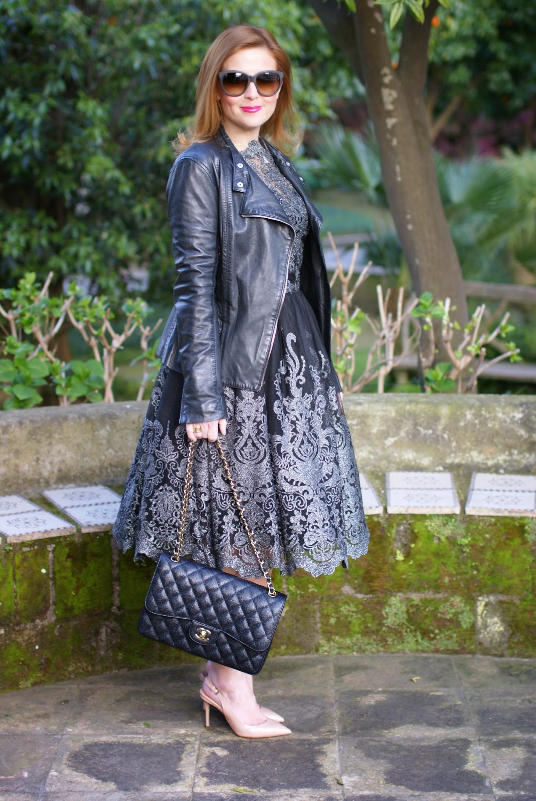Cinderella style, Chi Chi London Lottie dress, Elisabetta Franchi giacca pelle, Chi Chi London, nude pumps, leather jacket on elegant dress, Le Silla, Fashion and Cookies, fashion blogger, fashion blog, best fashion bloggers