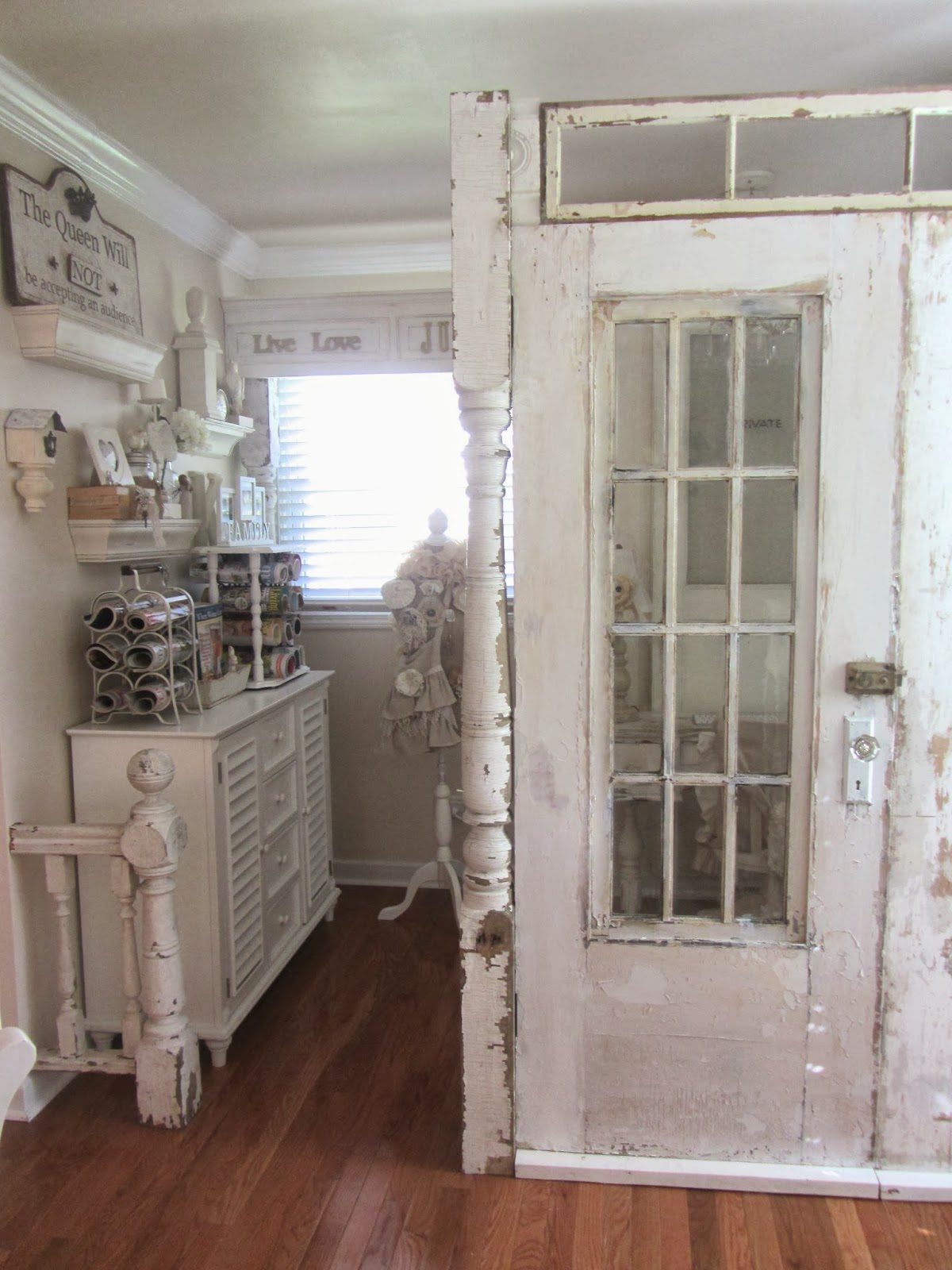 I love that the light still streams in from that window to keep it bright. & Junk Chic Cottage: When is a Door(s) a Wall?