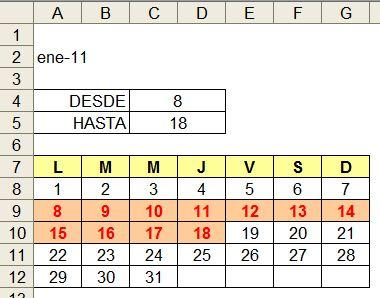 las vacaciones inician el 8 y finalizan el 18 todos los nmeros comprendidos entre los dos nombrados poseen otro formato letras rojas en negrita y con