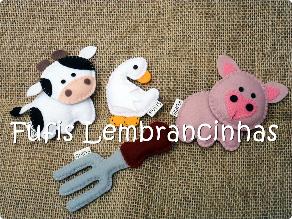 fazenda, vaca, pato, cavalo, feltro