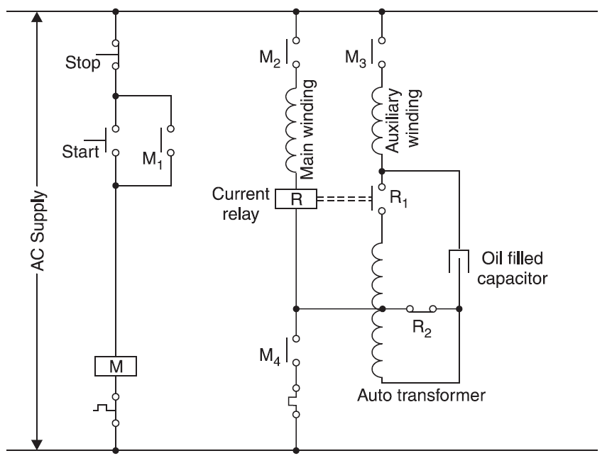 Starter For A Two Value Capacitor Motor Using A Current Relay And An
