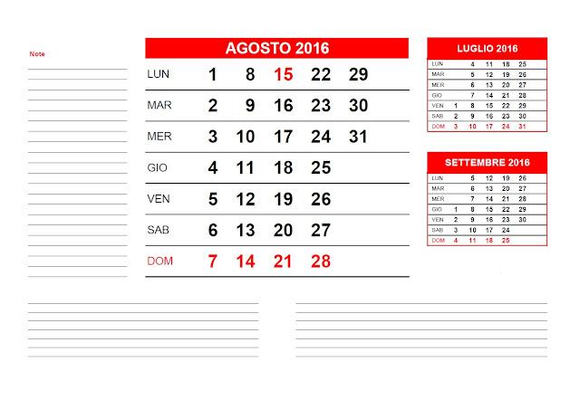 Calendario mensile 2016 - agosto