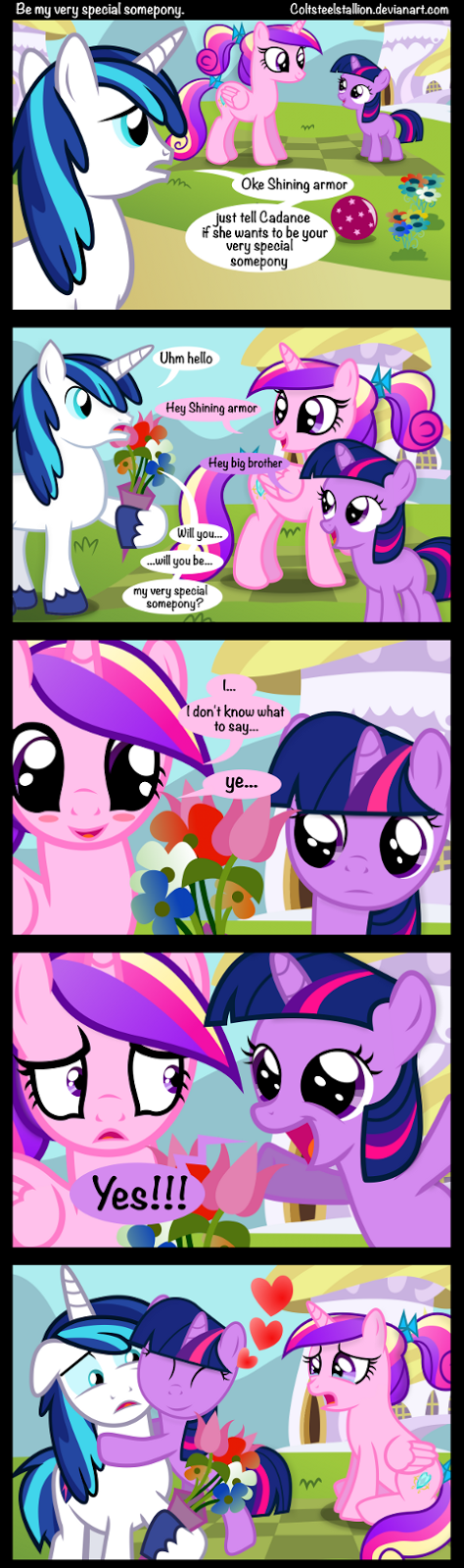Twilight Sparkle intrudes on Shining Armor's asking Princess Cadance to be his very special somepony.