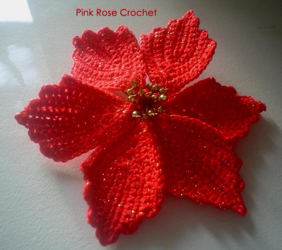 PINK ROSE CROCHET: Flor Poinsettia Flor Vermelha de Natal