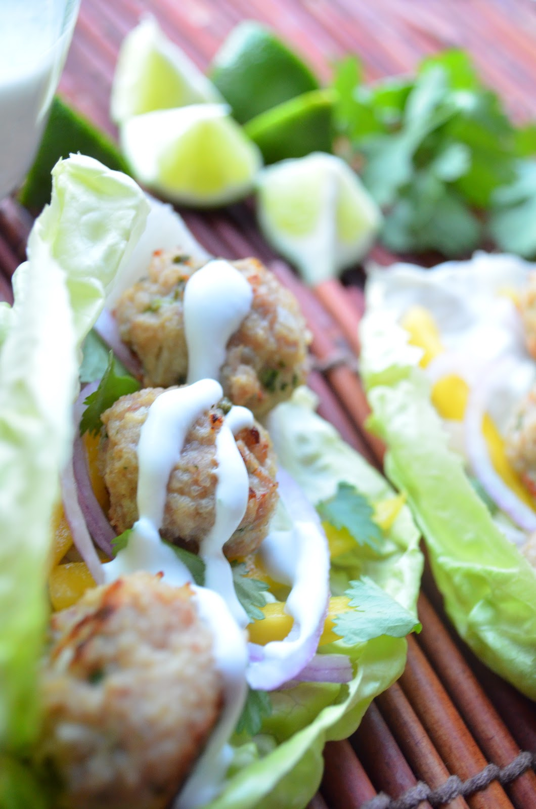 iron stef: thai chicken larb balls with creamy coconut sauce