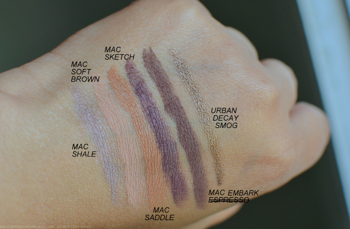 MAC Eyeshadow Swatches Shale Soft Brown Saddle Sketch Embark Urban Decay Smog Pencil Eyeliner