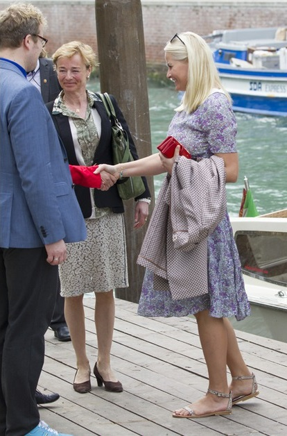 Princess Mette-Marit of Norway attended the opening ceremony of the Nordic Pavilion at the 56th International Art Exhibition (Biennale d'Arte) titled 'All the Worlds Futures