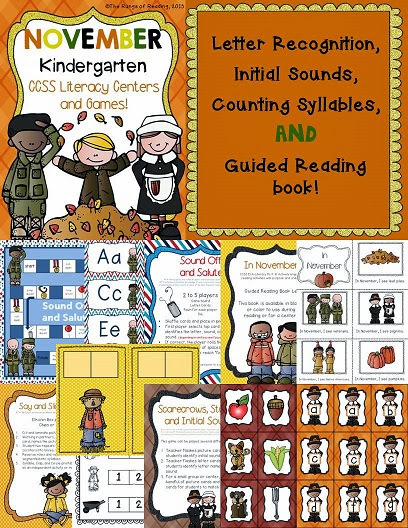 Kindergarten November Literacy Centers