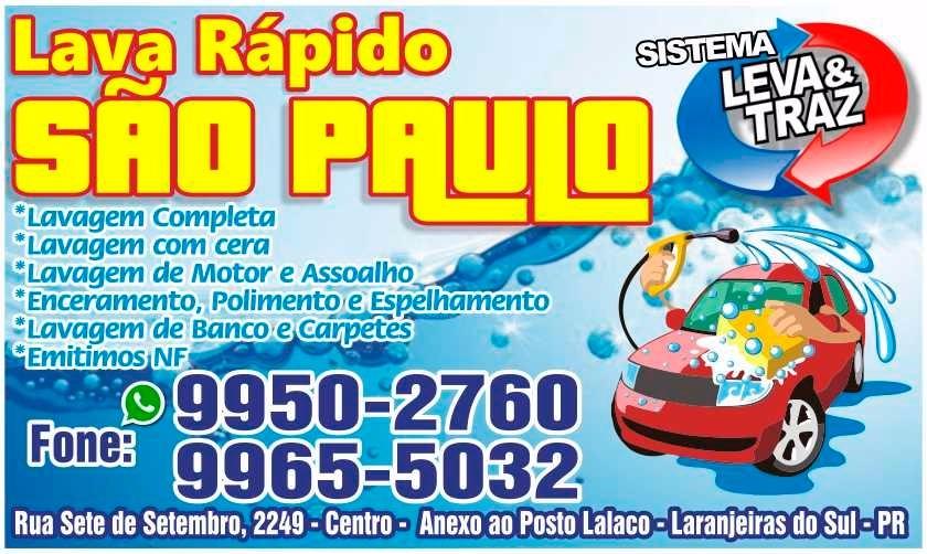 Laranjeiras do Sul:Lava Car São Paulo, serviço completo em seu veículo!!