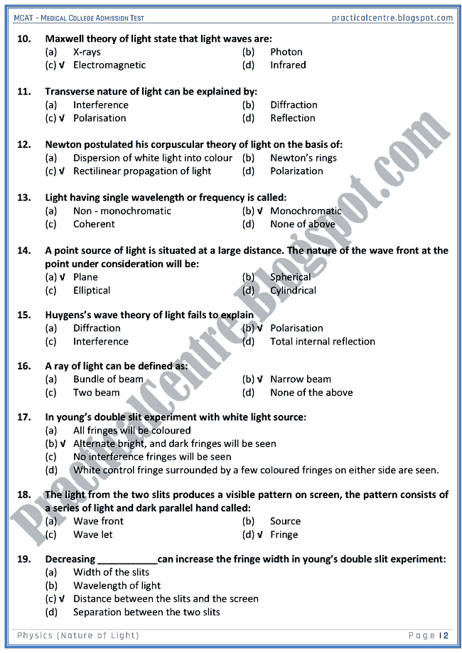 mcat-physics-nature-of-light-mcqs-for-medical-college-admission-test