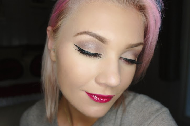 Pastel Pink Hair and Makeup Collage MAC Satin Taupe, Chanel Crushed Cherry Lipgloss