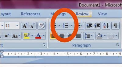 Menggunakan bullets and numbering dalam microsoft word