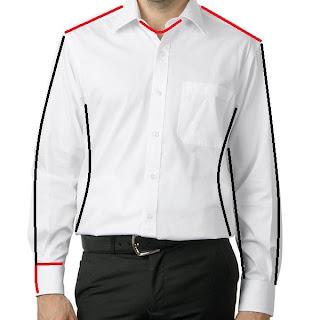 Linie które wpływają na dopaskowanie koszuli.
