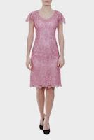 Rochie roz pudrat din broderie