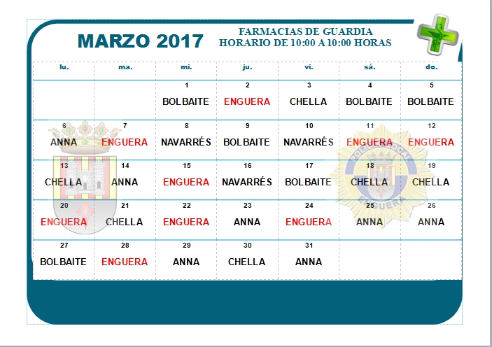 FARMACIA DE GUARDIA MARZO 2017