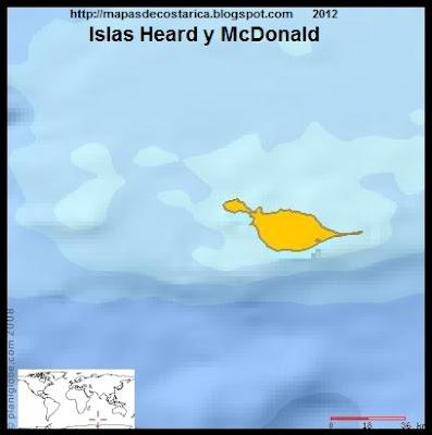 ISLAS HEARD Y McDONALD, Mapa de ISLAS HEARD Y McDONALD, (PLANIGLOBE)