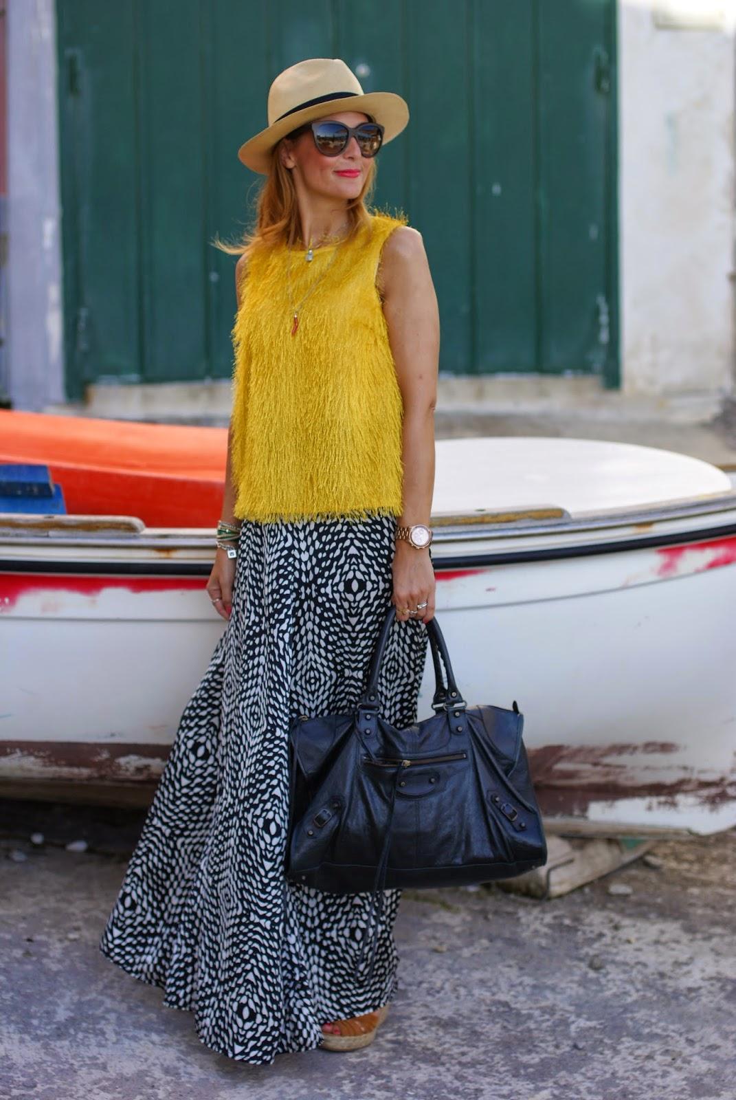 black and white maxi skirt, hairy fabric top, Ecua-Andino Panama hat, Fashion and Cookies, fashion blogger